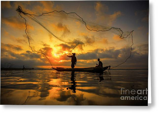 Entrapment Greeting Cards - Fisherman Greeting Card by Anek Suwannaphoom