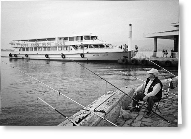 Best Ocean Photography Greeting Cards - Fisherman at Alsancak Greeting Card by Ilker Goksen