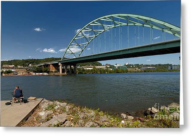 Allegheny Greeting Cards - Fisherman at Birmingham Bridge Pittsburgh Pennsylvania Greeting Card by Amy Cicconi