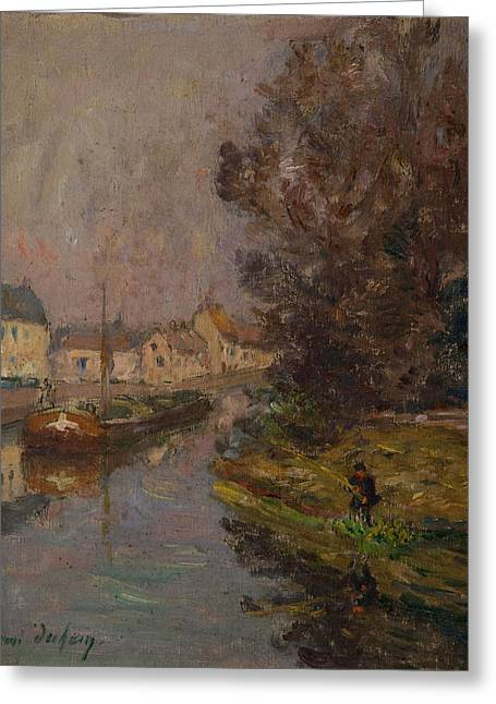 Angling Photographs Greeting Cards - Fisherman At Douai Oil On Canvas Greeting Card by Henri Duhem