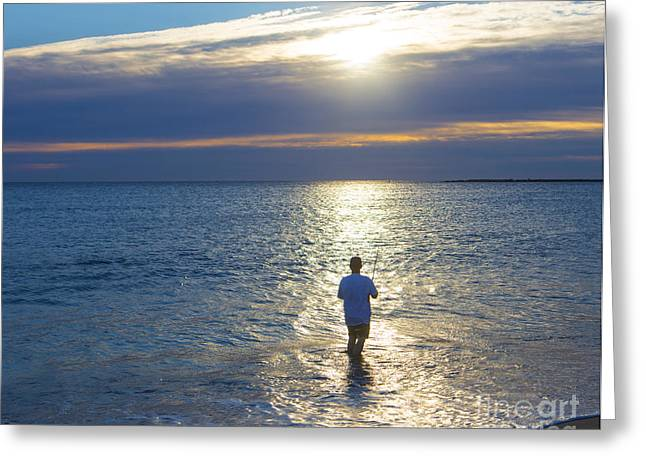 Castings Greeting Cards - Fisherman at Sunrise Greeting Card by Diane Diederich