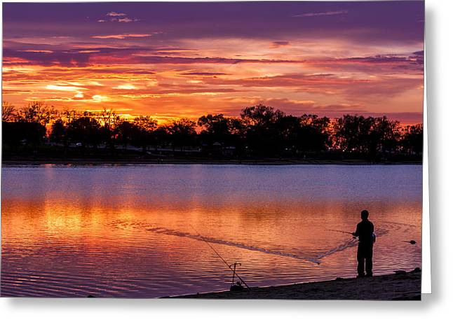 Pond In Park Greeting Cards - Fisherman at Sunrise Greeting Card by Teri Virbickis