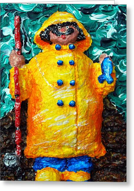 Boots Reliefs Greeting Cards - Fisherman Bob Greeting Card by Alison  Galvan