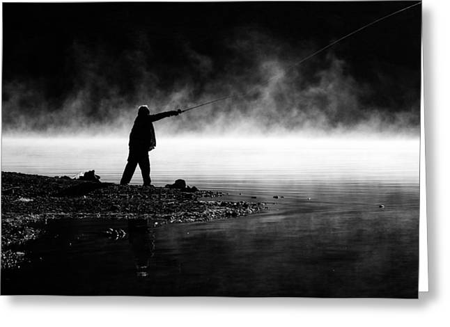 Solitary Activities Greeting Cards - Fisherman Casting Greeting Card by Priya Ghose