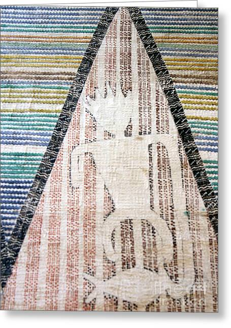 Handcrafted Tapestries - Textiles Greeting Cards - Fisherman Greeting Card by Dalani Tanahy