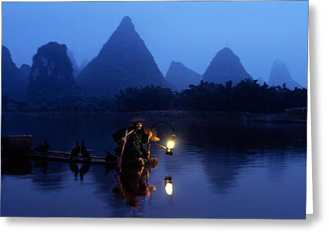 Person Greeting Cards - Fisherman Fishing At Night, Li River Greeting Card by Panoramic Images