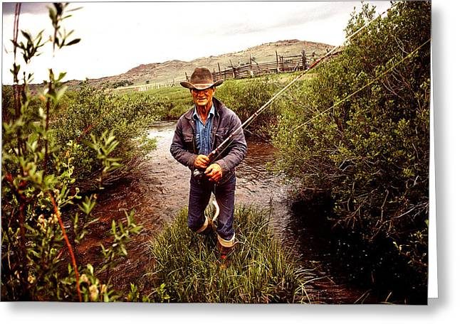 Fishing Rods Photographs Greeting Cards - Fisherman Fly Fishing In A Lake Greeting Card by Panoramic Images