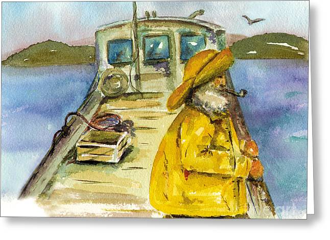 Fisherman Half Moon Bay Greeting Card by Diane Thornton