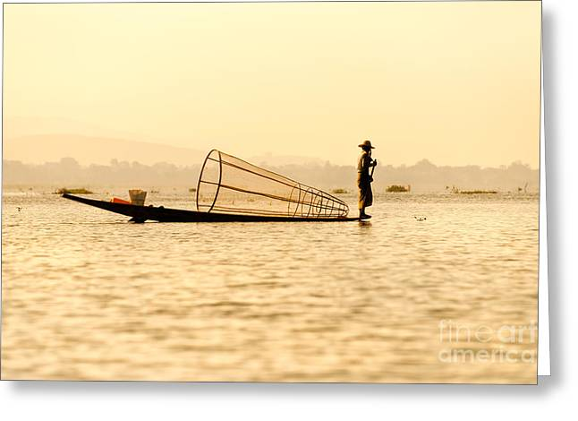 Entrapment Greeting Cards - Fisherman in inle lake - Myanmar Greeting Card by Luciano Mortula