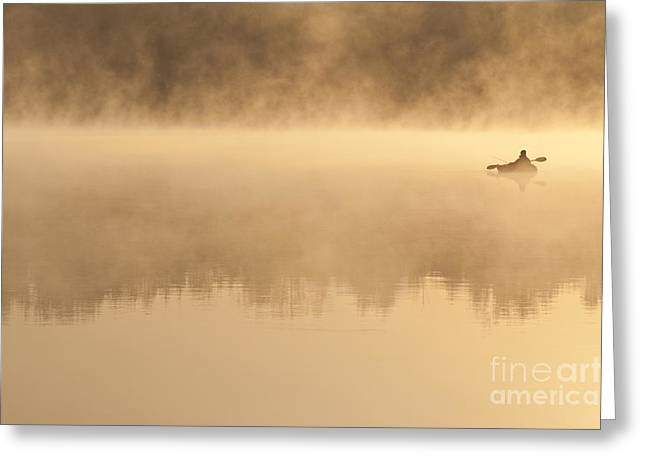 Balance In Life Greeting Cards - Fisherman In Kayak, Lake Cassidy Greeting Card by Jim Corwin