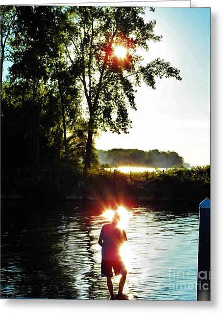 Reflections Of Sun In Water Greeting Cards - Fisherman in Sunfire Greeting Card by Judy Via-Wolff