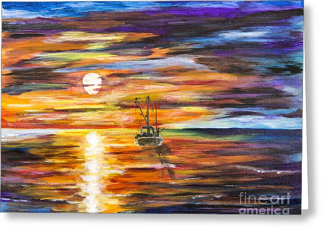 Sailboat Art Greeting Cards - Fisherman In Sunset Greeting Card by Timothy Hacker