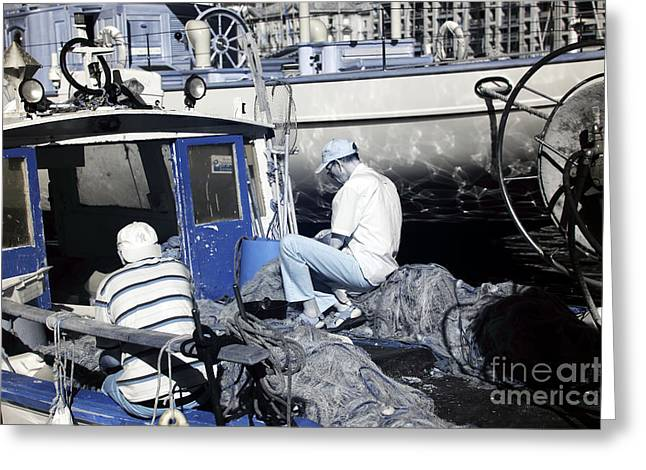 ist Working Photo Photographs Greeting Cards - Fisherman Greeting Card by John Rizzuto