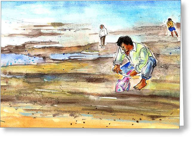 On The Beach Drawings Greeting Cards - Fisherman on Las Canteras Beach Greeting Card by Miki De Goodaboom