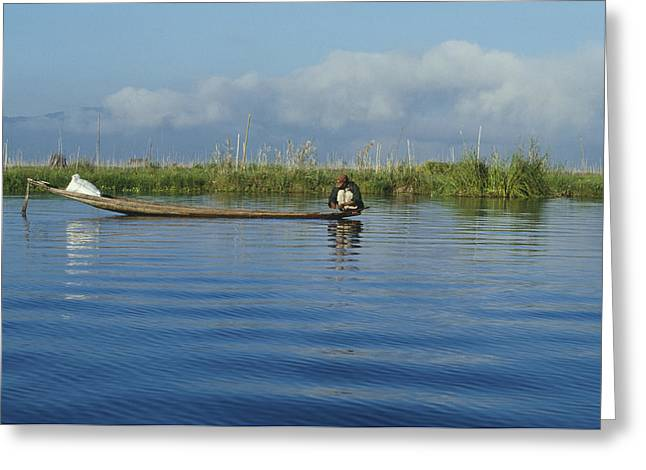 Boats In Reflecting Water Greeting Cards - Fisherman on The Inle Lake Greeting Card by Maria Heyens