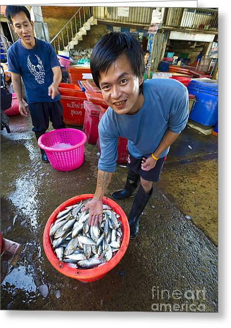 Asian Market Greeting Cards - Fisherman Sorting Fish, Thailand Greeting Card by John Shaw