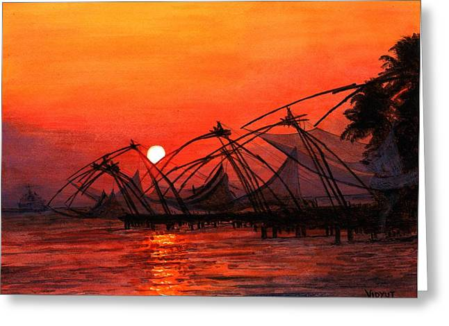 Fisherman Sunset In Kerala-india Greeting Card by Vidyut Singhal