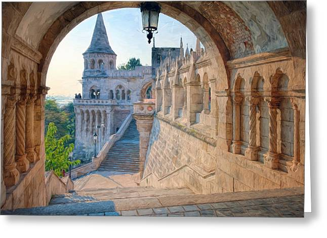 Bastion Greeting Cards - Fishermans Bastion Budapest II Greeting Card by Joan Carroll