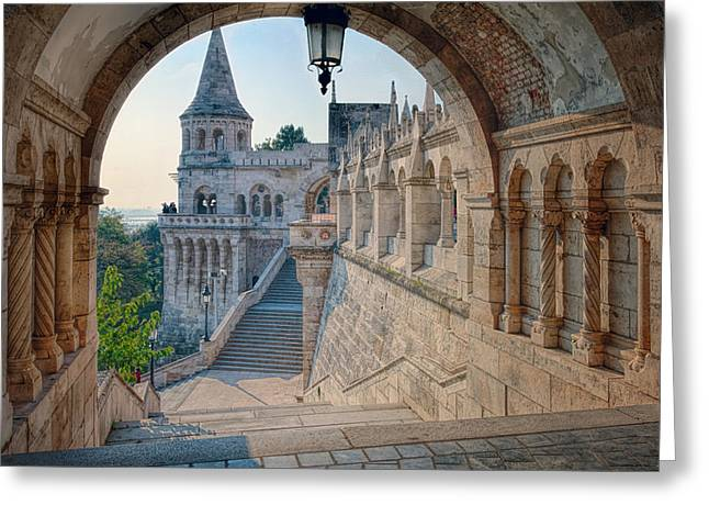 Bastion Greeting Cards - Fishermans Bastion Budapest Greeting Card by Joan Carroll