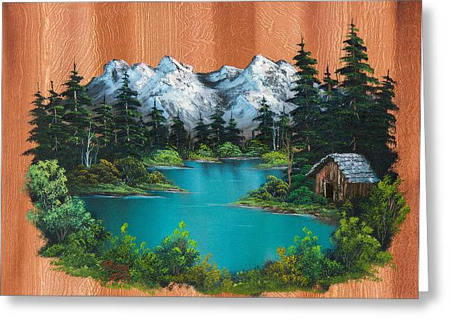 Bob Ross Paintings Greeting Cards - Fishermans Cabin Greeting Card by C Steele