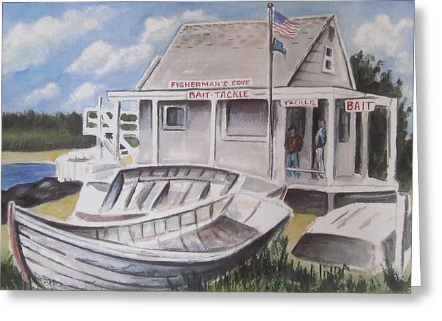 Bruce Springsteen Paintings Greeting Cards - Fishermans Cove  Greeting Card by Melinda Saminski