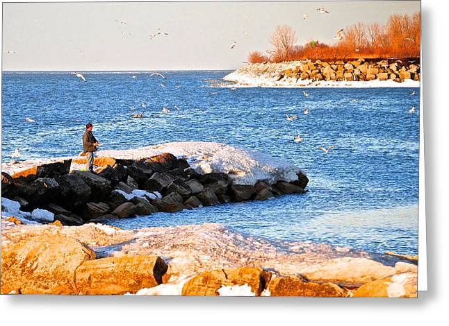Winter Sports Picture Greeting Cards - Fishermans Cove Greeting Card by Frozen in Time Fine Art Photography