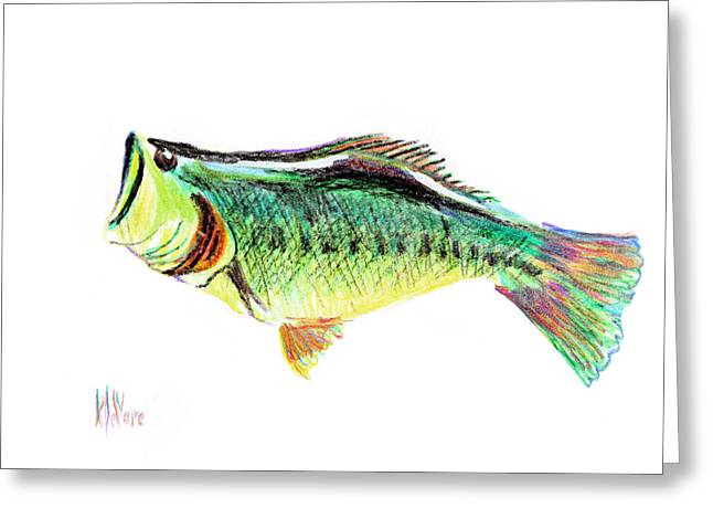 Bass Fish Mixed Media Greeting Cards - Fishermans Delight Greeting Card by Kip DeVore