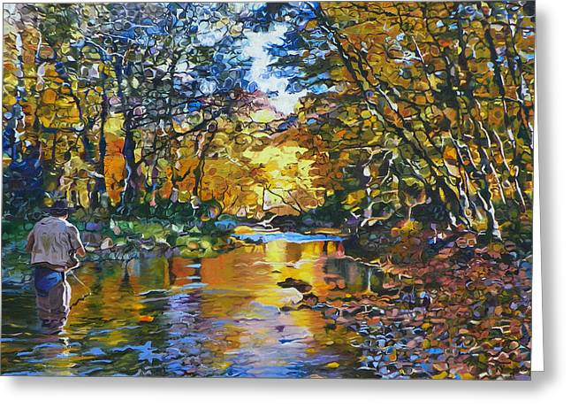 Fall Trees Greeting Cards - Fishermans Dream Greeting Card by Kenneth Young