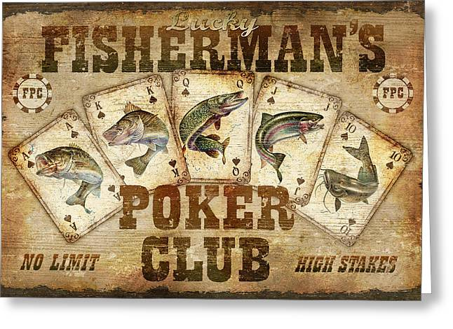 Rainbow Trout Greeting Cards - Fishermans Poker Club Greeting Card by JQ Licensing