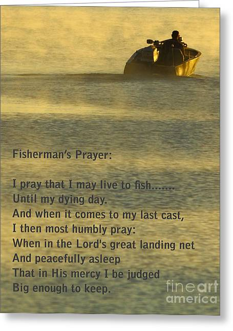 Docked Boats Greeting Cards - Fishermans Prayer Greeting Card by Robert Frederick