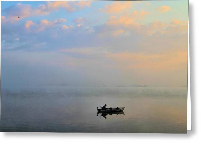 Boats On Water Greeting Cards - Fishermans Solitude In Ohio Greeting Card by Dan Sproul