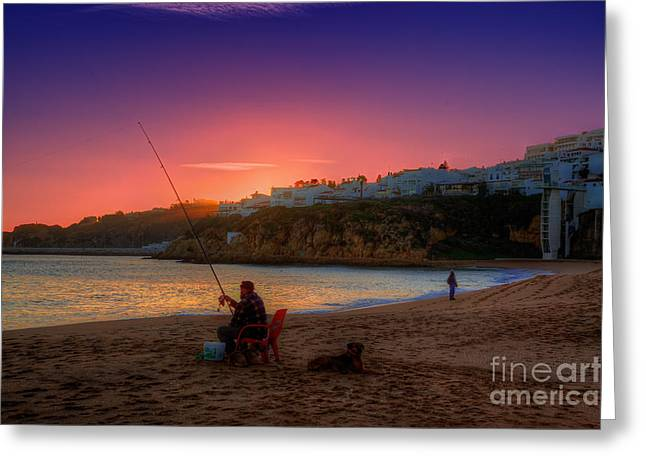 Praia De Faro Greeting Cards - Fishermans Sunset Greeting Card by English Landscapes