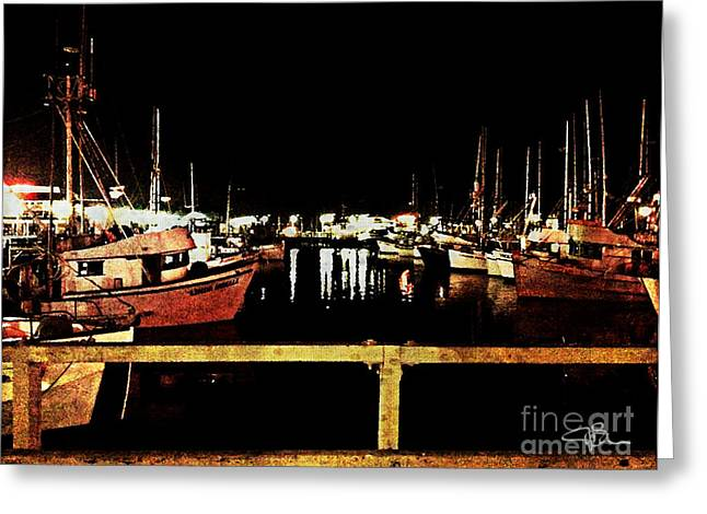 Famous Bridge Greeting Cards - Fishermans Wharf at Night San Francisco California Greeting Card by Jani Bryson