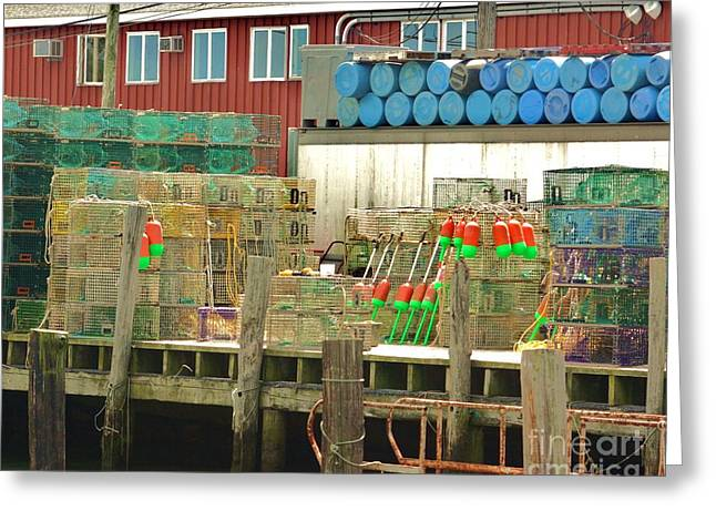 Lobster Post Greeting Cards - Fishermans Wharf Greeting Card by Chuck  Hicks