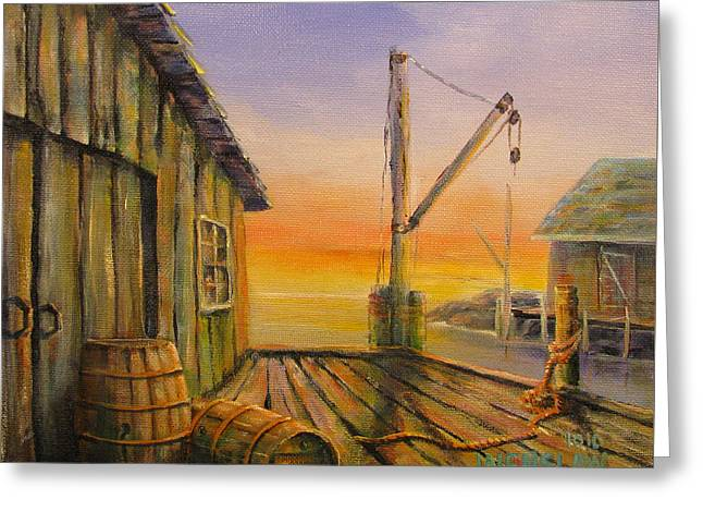 Shed Paintings Greeting Cards - Fishermans Wharf Greeting Card by Wayne Enslow