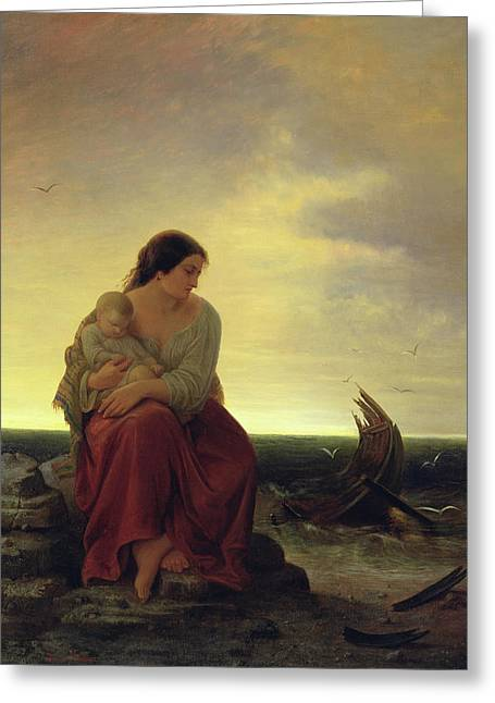 Drown Greeting Cards - Fishermans Wife Mourning On The Beach Oil On Canvas Greeting Card by Julius Muhr