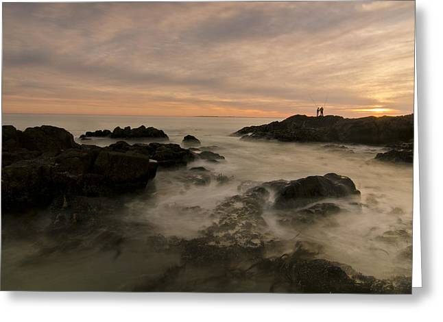Fishermen Greeting Card by Aaron S Bedell