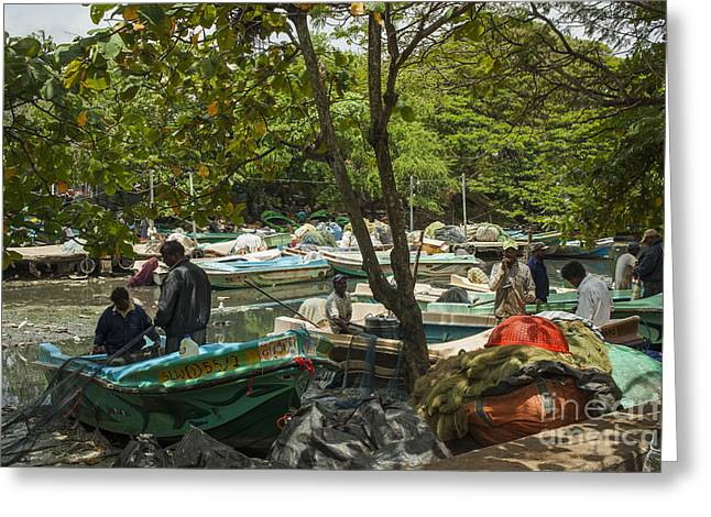 Seasons.net Greeting Cards - Fishermen and their boats Greeting Card by Patricia Hofmeester