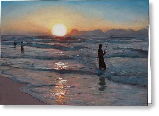 Fishermen At Sunrise Greeting Card by Christopher Reid