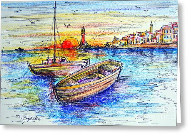 Sunset Seascape Drawings Greeting Cards - Fishermen boats at sunset Greeting Card by Roberto Gagliardi