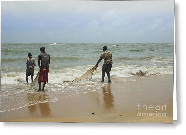 Take Action Greeting Cards - Fishermen cleaning nets Greeting Card by Patricia Hofmeester