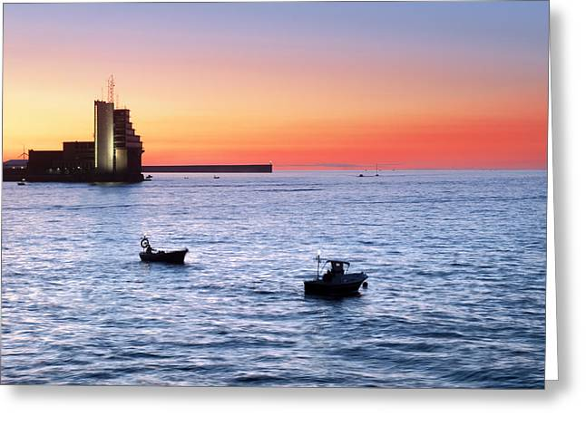 Control Tower Greeting Cards - Fishermen Fishing At Twilight On Boats Greeting Card by Mikel Martinez de Osaba