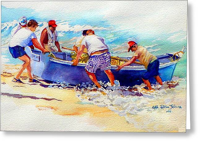 Reproducciones Tropicales Greeting Cards - Fishermen Friendship Greeting Card by Estela Robles