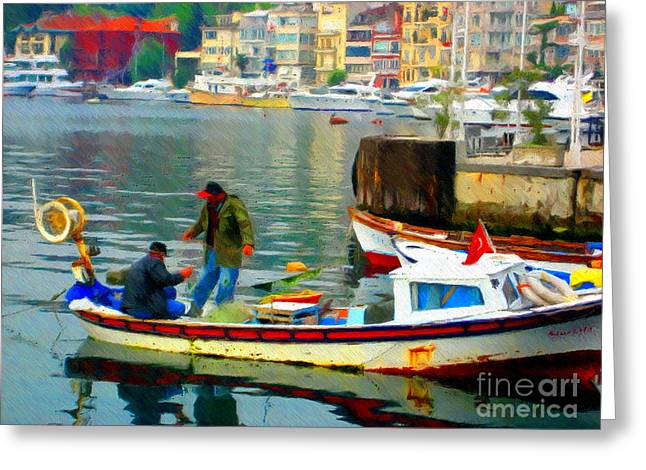 Istanbul Mixed Media Greeting Cards - Fishermen in Istanbul  Greeting Card by John Kreiter