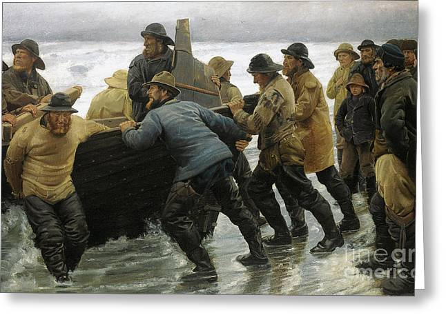 Green Posters Greeting Cards - Fishermen launching a rowing boat Greeting Card by Michael Ancher