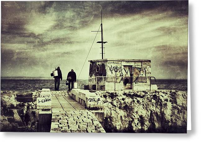 Beach Scenery Greeting Cards - Fishermen Greeting Card by Marco Oliveira