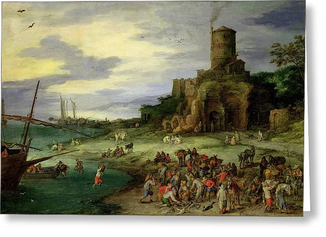 Gathering Greeting Cards - Fishermen On The Shore Oil On Canvas Greeting Card by Jan the Elder Brueghel