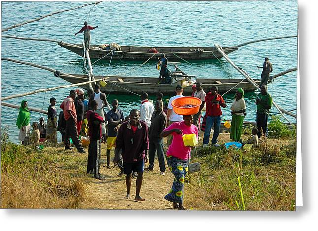 Geobob Greeting Cards - Fishermen Selling Catch Lake Kivu Rwanda Greeting Card by Robert Ford