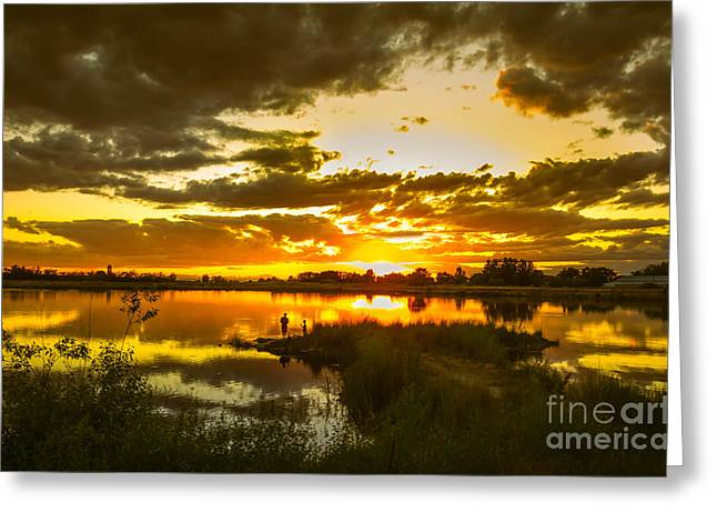 Treasure Valley Greeting Cards - Fishermen Sunset II Greeting Card by Robert Bales