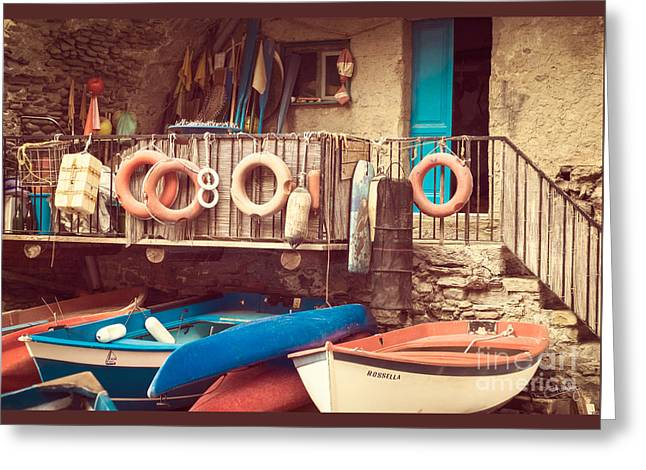 Charly Greeting Cards - Fishermen Supplies of Riomaggiore Greeting Card by Prints of Italy